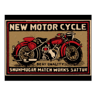 New Motorcycle Safety Match Label Postcard