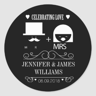 New mr & and mrs black and white wedding favours round sticker