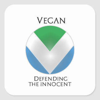 NEW OFFICIAL VEGAN FLAG: SHIELD DEFENDER SQUARE STICKER