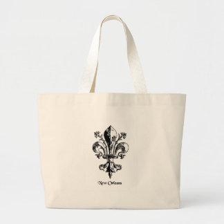 New Orleans Antique Fleur de lis Large Tote Bag