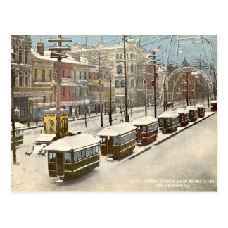 New Orleans Canal St Snow 1895 Postcard