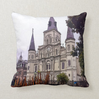 New Orleans Cathedral  Art Throw Pillow
