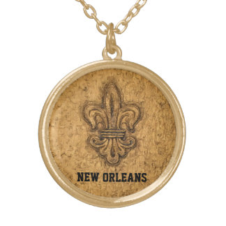 New Orleans French Fleur de Lis Gold Plated Necklace