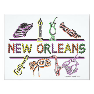 "New-Orleans-ICONS- copy 4.25"" X 5.5"" Invitation Card"