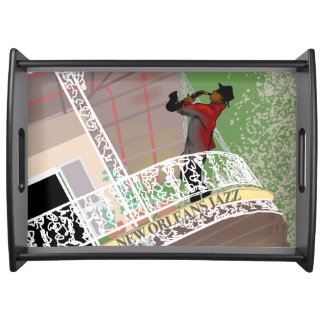 NEW ORLEANS JAZZ SAX by Slipperywindow Serving Tray
