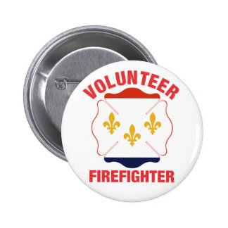 New Orleans, LA Flag Volunteer Firefighter Cross 2 Inch Round Button