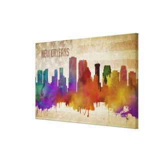 New Orleans, LA | Watercolor City Skyline Canvas Print