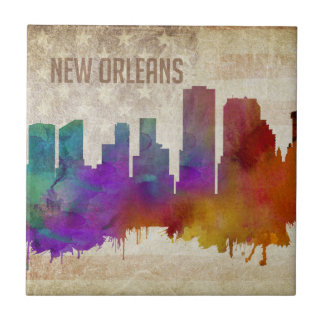 New Orleans, LA | Watercolor City Skyline Tile