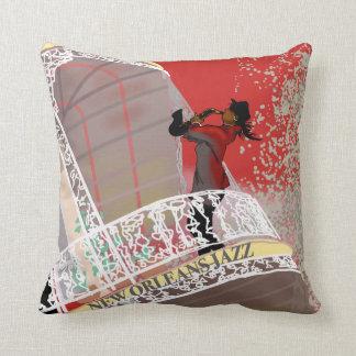 NEW ORLEANS LADY SAX JAZZ by SLipperywindow Throw Pillow