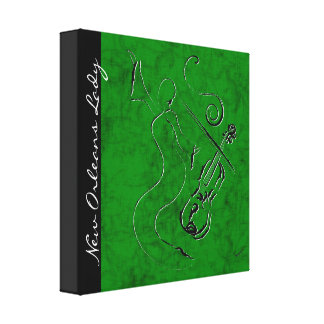 New Orleans Lady - Violin Wrapped Canvas - Green