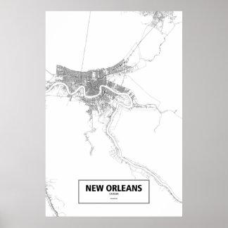 New Orleans, Louisiana (black on white) Poster