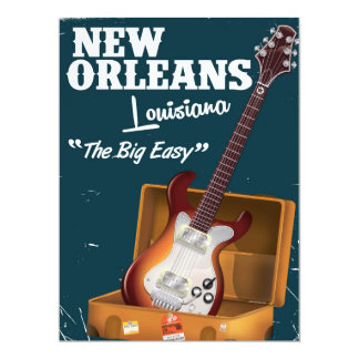 "New Orleans Louisiana Electric Guitar poster 6.5"" X 8.75"" Invitation Card"