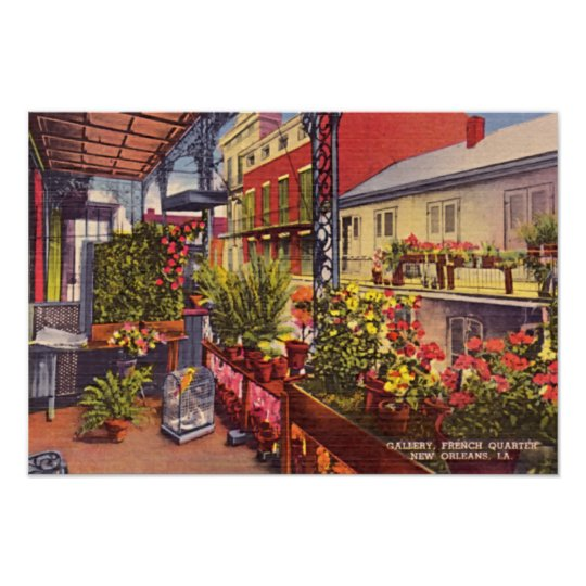 New Orleans Louisiana French Quarter Balcony Poster