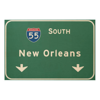 New Orleans Louisiana Interstate Highway Freeway : Wood Canvas