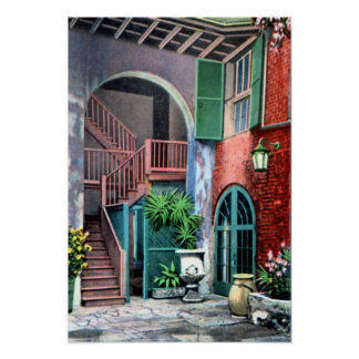 New Orleans Louisiana Spanish Courtyard 1920 Poster