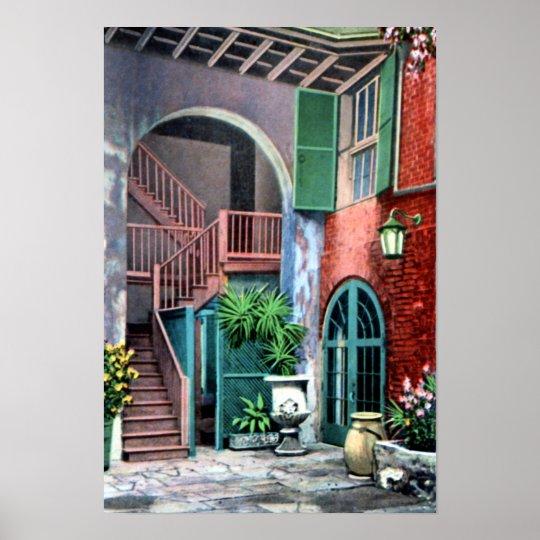 New Orleans Louisiana Spanish Courtyard 1920 Poster