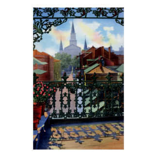 New Orleans Louisiana Vieux Carre Balcony Scene Poster