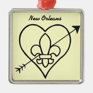 New Orleans Love Heart & Fleur De Lis Metal Ornament