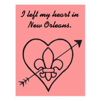 New Orleans Love Heart & Fleur De Lis Postcard