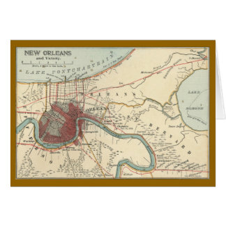 New Orleans Map 1900 Card
