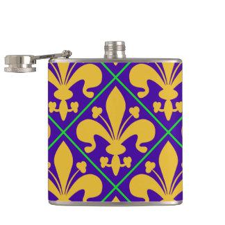New Orleans Mardi Gras Fleur de Lis Hip Flask