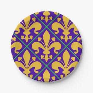 New Orleans Mardi Gras Fleur de Lis Paper Plate