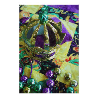 New Orleans Mardi Gras Hat Beads Poster Print