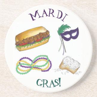 New Orleans Mardi Gras Mask Beads Beignet NOLA Coaster