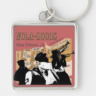New Orleans Neighborhoods Brass Ban, NOLA_HOODS Silver-Colored Square Keychain