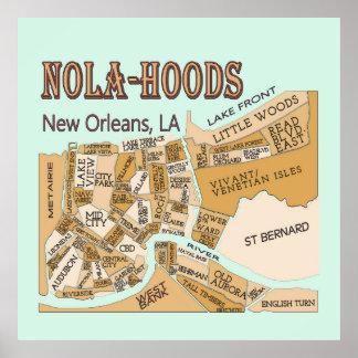 New Orleans Neighborhoods Map NOLA_HOODS Poster