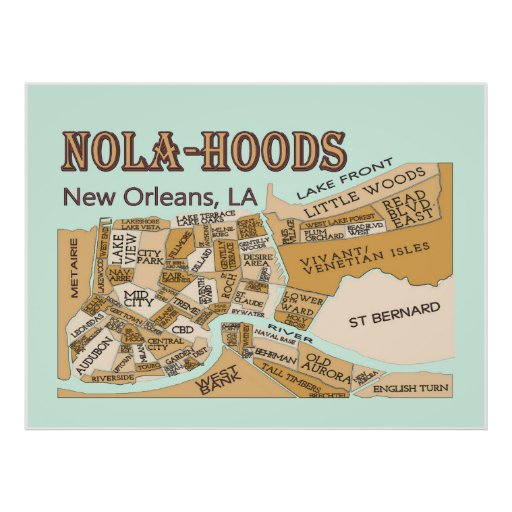 New Orleans Neighborhoods, NOLA-HOODS Print