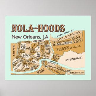 New Orleans Neighborhoods NOLA-HOODS Print