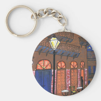 New Orleans Night Cafe Basic Round Button Keychain