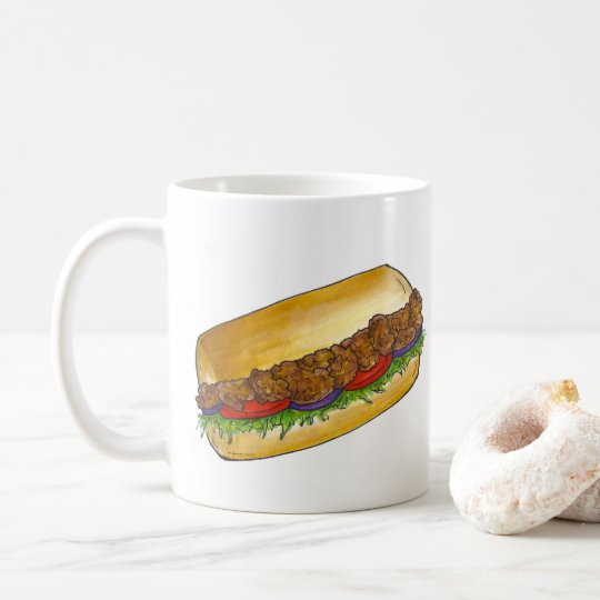 New Orleans NOLA Cajun Shrimp Po'Boy Sandwich Coffee Mug