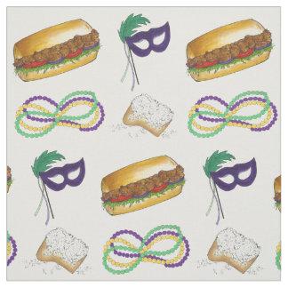 New Orleans NOLA Mardi Gras Beads Food Mask Fabric