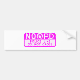 New Orleans NOPD Police Line Sign - Pink Bumper Sticker