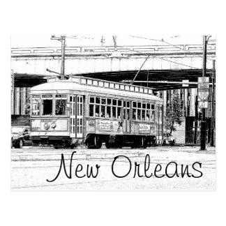 New Orleans Postcard - Trolley Car