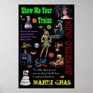 New Orleans Railroads, Mardi Gras Travel Poster