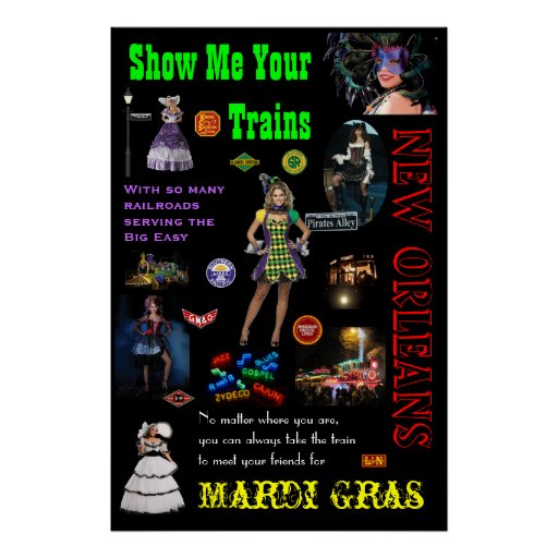 New Orleans Railroads, Mardi Gras Travel Poster