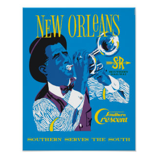 New Orleans.  Retro style railroad travel poster