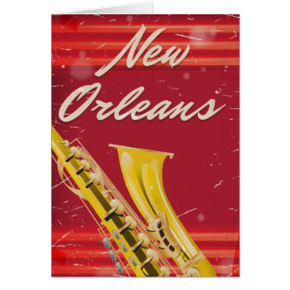 New Orleans Saxophone travel poster Card