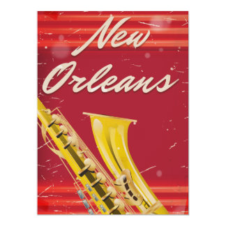 New Orleans Saxophone travel poster. Card