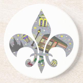 New Orleans Scene Fleur de Lis Drink Coasters