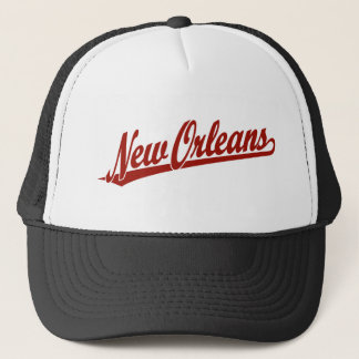 New Orleans script logo in red Trucker Hat