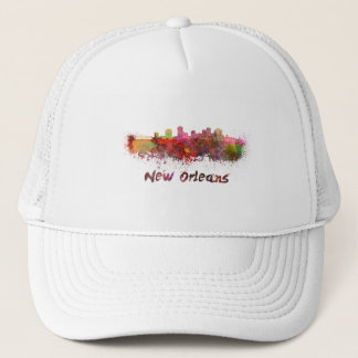 New Orleans skyline in watercolor Trucker Hat