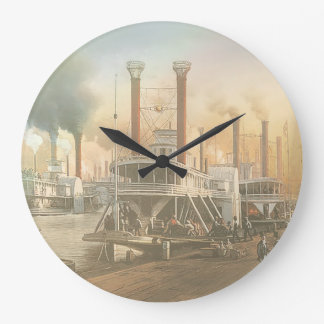 New Orleans Steamboat Large Clock