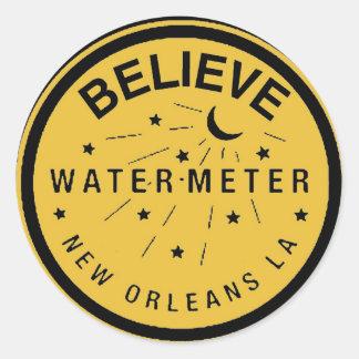 New Orleans Water Meter Cover Believe Round Sticker