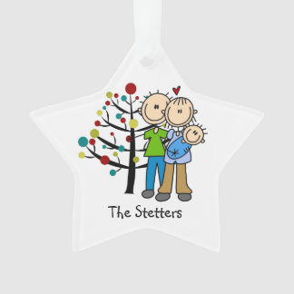 New Parents and Baby Boy Holiday Ornament