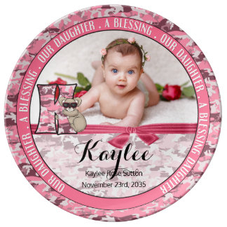 "New Parents Letter ""K"" Pink Camouflage Monogram Plate"