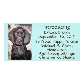 New Pet Adoption Announcement Brown Font on Blue Custom Photo Card